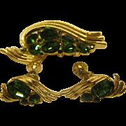Vintage Signed Lisner Green Rhinestone Pin Broach Screw Back Earrings Set