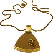 Vintage Signed ZM Modernist 10K Yellow Gold Pendant Necklace