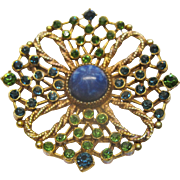 Vintage Signed HAR Peacock Inspired Pin Broach