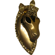 Early Coro Craft Sterling Silver Horse Head Fur Clip Pin Broach