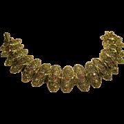 Signed Judy Lee Red AB Rhinestone Faux Pearl Link Bracelet
