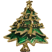 Rare Vintage Signed Best Enameled Christmas Tree Pin Broach Pendant