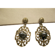 Art Deco Sterling Silver Marcasite Hematite Screw Back Earrings