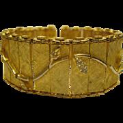 Vintage Signed Schiaparelli Wide Gold Tone Rhinestone Link Bracelet