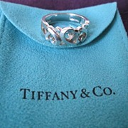 "Tiffany & Co ""Paloma Picasso"" Sterling Silver Triple Loving Hearts Ring-Sz 7.25"