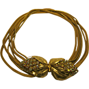 Circa 1950's 1960's Signed Schiaparelli Aurora Borealis 6 Strand Necklace