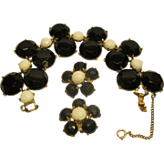 Vintage Signed Schiaparelli Chunky Black White Bracelet Clip Earrings Set