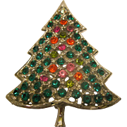 Vintage Signed Kramer Book Piece Christmas Tree Pin Broach