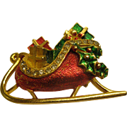 Book Piece Signed St Labre Christmas Sleigh Pin Broach