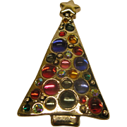 Vintage Modernist Jeweled Christmas Tree Pin Broach Pendant