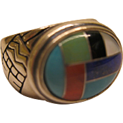 Estate Signed Carolyn Pollack Relios Sterling Multi Gemstone Inlay Etched Ring SZ 8