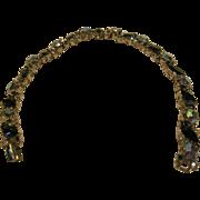 "Vintage Signed Trifari Blue Rhinestone Bracelet 7"" Long"