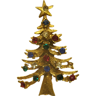 Vintage Signed LJM Christmas Tree Pin Broach