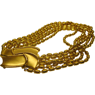 Signed YSL Yves Saint Laurent Gold Tone 6 Strand Decorative Clasp Necklace