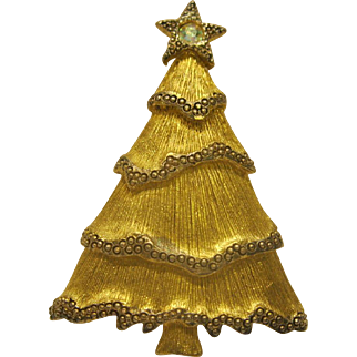Vintage Signed LC Christmas Tree Pin Broach Book Piece