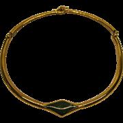 Vintage Signed Lanvin Paris Gold Tone Green Enamel Choker Necklace