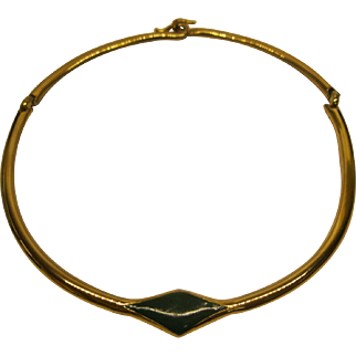 Vintage Signed Lanvin Paris Gold Tone Green Enamel Choker Necklace