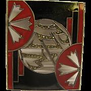 Vintage Art Deco Sterling Enamel Marcasite Pendant