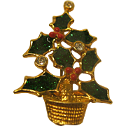 Vintage Signed Avon Holly Leaf Christmas Tree Pin Broach
