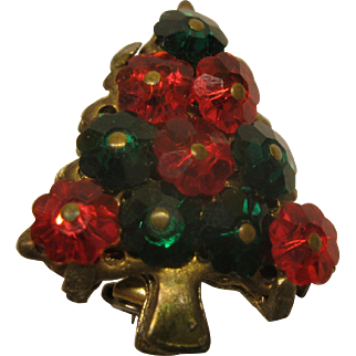 Vintage Rivoli Red and Green Crystal Christmas Tree Pin Broach