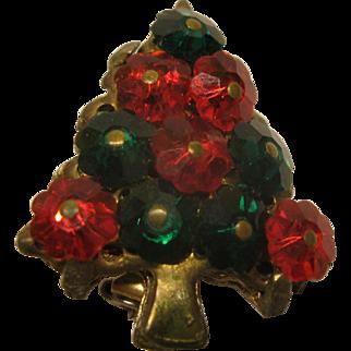 Vintage Rivoli Red and Green Crystal Christmas Tree Pin Broach
