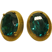 Vintage Signed Schiaparelli Oval Green Stone Clip Earrings