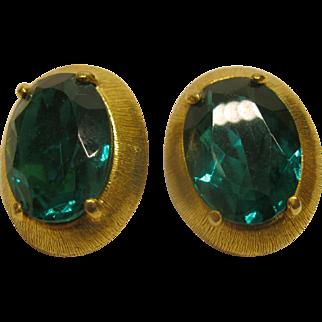 Vintage Signed Schiaparelli Oval Green Stone Clip Earrings