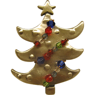 Vintage Modernist Unsigned Christms Tree Pin Broach