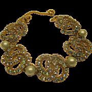 Vintage 1940's Signed Schiaparelli Blue Rhinestone Faux Pearl Bracelet