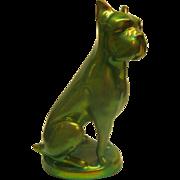 Vintage Signed Zsolnay Green Gold Eosin Boxer Dog Figurine Older Marlk