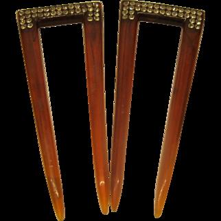 Vintage Plastic Pair of Jeweled Tortoise Color Hair Combs
