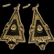 Vintage Signed Ralph Lauren Long Jeweled Pierced Earrings
