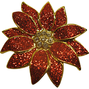 Vintage Signed SFJ Glitter Enamel Poinsettia Christmas Pin Broach