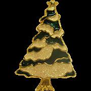 Vintage Signed SFJ Glitter Enamel Christmas Tree Pin Broach