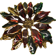 Vintage Unsigned Enamel Poinsettia Christmas Pin Broach