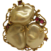 Vintage 1985 Freshwater Pearl Ruby 14 K Gold Ring Sz 8.5