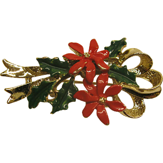 Vintage Signed Gerrys Poinsettia Christmas Pin Broach