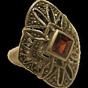 Vintage Garnet Marcasite Sterling Silver Ring Size 7