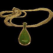 Vintage Signed Sajen Green Turquoise Liquid Silver Pendant Necklace