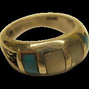 Vintage Signed dp Southwestern Sterling Turquoise MOP Ring Sz 6.5