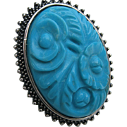Vintage Signed AKR Amy Kahn Russell Sterling Turquoise Camellia Ring Sz 8.75