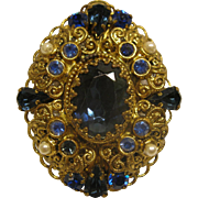 Vintage Signed W Germany Ornate Gold Tone Filigree Blue Rhinestone Faux Pearl Pendant