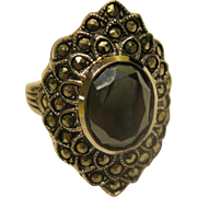 Vintage Signed Sterling Silver Onyx Marcasite Ring Sz 7