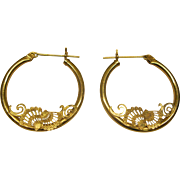 Vintage Signed JCM 14K Yellow Gold Pierced Hoop Earrings