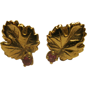 Vintage 14K Yellow Gold Ruby Leaf Pierced Earrings