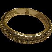 Vintage Rhinestone Silver Tone Clamper Bangle Bracelet