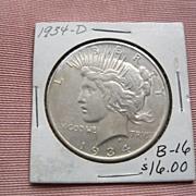 1934 D Peace Silver Dollar--Excellent Condition