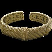 Vintage Signed Judith Ripka Sterling Silver Diamonique Hinged Bracelet