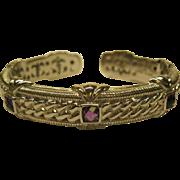 Vintage Signed Judith Ripka Sterling Silver Amethyst Hinged Bracelet