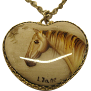 Vintage 1980's Hand Crafted Silver Porcelain Horse Theme Pendant Necklace Signed L Jane